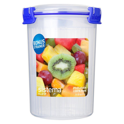 Sistema Klip It 33.8oz Round Container with Basket, Light Clear