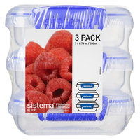 Sistema Klip It 3pk 6.7oz Containers, Clear
