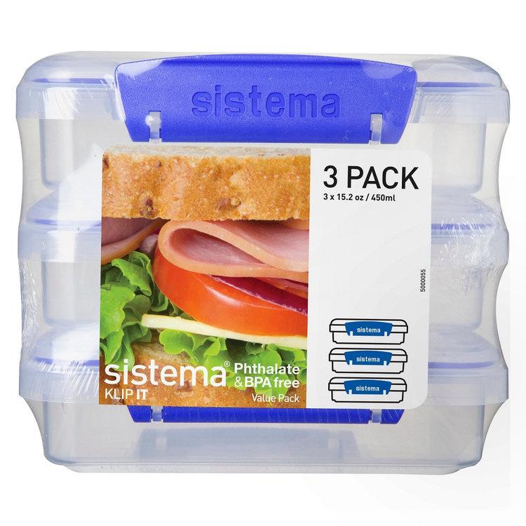 Sistema Klip It 3pk 15.2oz Sandwich Containers, Medium Clear