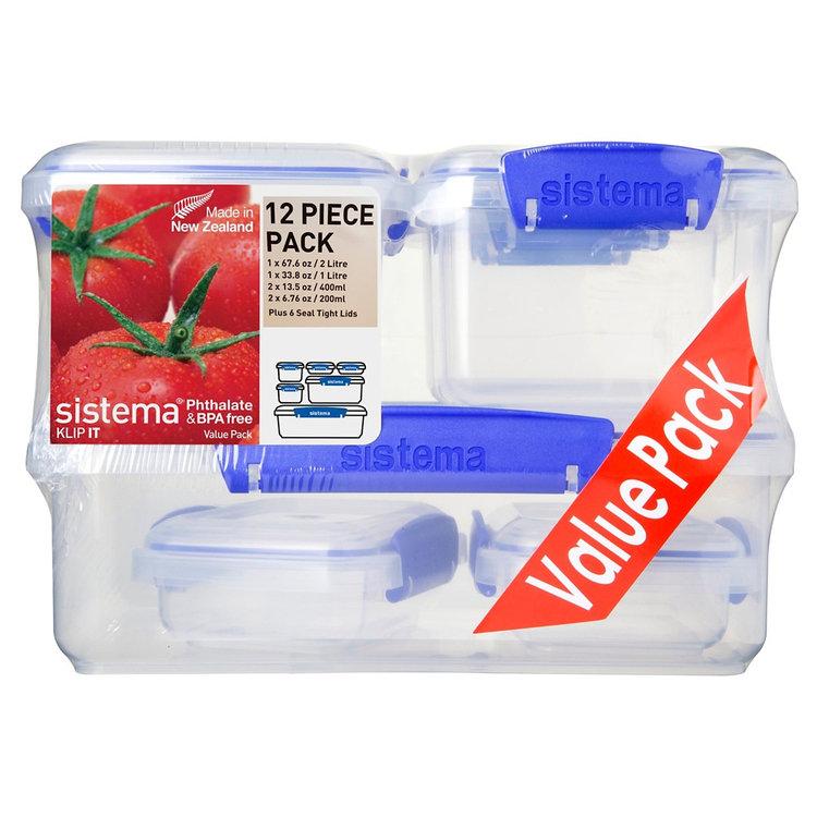 Sistema Klip It 6pk Container Set, Clear