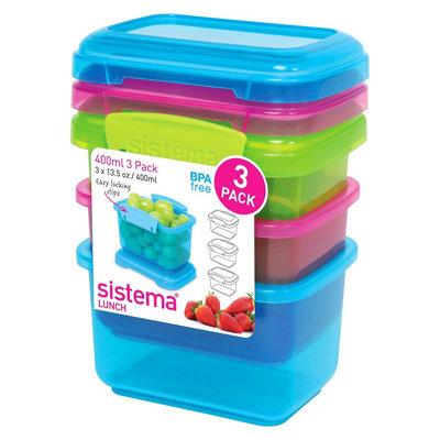 Sistema Klip It 3pk 13.5oz Color Containers, Multi-Colored