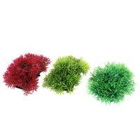 Fish Tank Aquarium Artificial Plastic Aquatic Plant Decor Green Red 12x8cm 3pcs