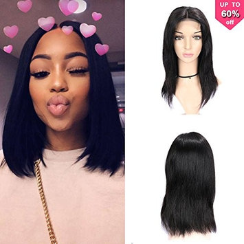 Fave Straight Human Hair Lace Part Wigs within 4x4 Lace Closure for Women 130% Density #1B Color