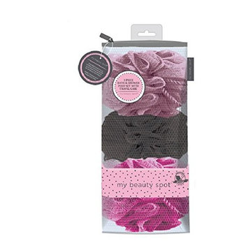 My Beauty Spot 3 Piece Shower Pouf Set With Reusable Zipper Storage Bag!
