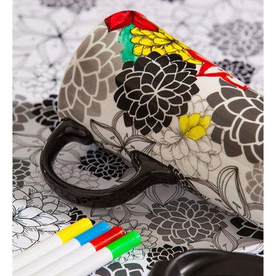 Cypress Home Floral Medley Coloring Book Ceramic Travel Coffee Mug, 17 ounces