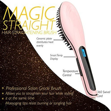 One & Only Magic-Straight Salon Grade Professional Hair Straightening PINK Brush with Variable Temperature Control, Anti Frizz, Anti Scald, Anion, Detangling, Digital Display and Ceramic heating Plates