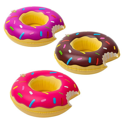 Big Mouth Toys Inflatable Pool Party Beverage Boats: Donut (3 pack) - Pink/Brown