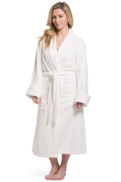 Fishers Finery Women's Resort / Spa Style Bamboo Viscose/Cotton Terry Robe; Full Length with Rolled Cuff-S/M / White