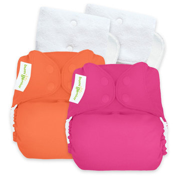 Bum Genius BumGenius Reusable Diaper Set Hot Pink Orange Coral Opaque, Countess, Kiss