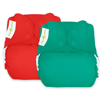 Bum Genius BumGenius Reusable Diaper Set Forest Red, Hummingbird/Pepper
