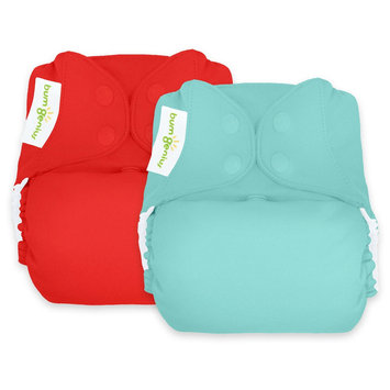 Bum Genius BumGenius Reusable Diaper Set Abstract Turquoise Red, Mirror/Pepper