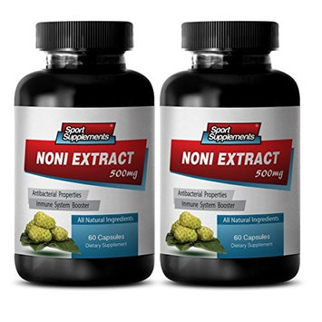 Noni fruit powder - NONI EXTRACT 500mg - Natural pain relief supplements - 2 Bottle 120 Capsules