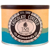Taza Organic Dark Chocolate Covered Almonds, 55% Dark, 8-ounce Tin