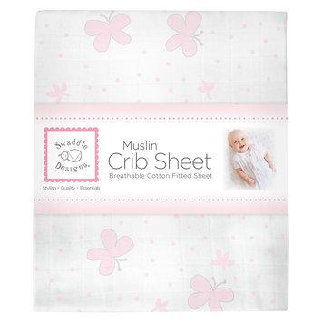 Swaddledesigns Butterflies Crib Sheet - Pastel Pink, Light Pink