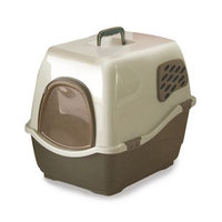 Mojetto Bill 2F Enclosed Cat Litter Pan Brown