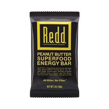 Redd Gluten Free Plant Based Superfood Energy Bar, Peanut Butter, 12 Bars [Peanut Butter]