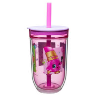 Shopkins 15oz Double-Wall Tumbler with Straw, Pink