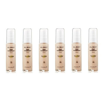 Almay Clear Complexion Makeup Foundation with 4 in 1 Blemish Eraser, #100 Ivory (Pack of 6) + FREE Makeup Blender