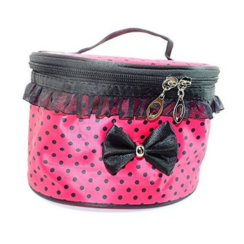 Cosmetic Bag Travel Makeup Organizer Case Holder With Mirror Pink polka dot