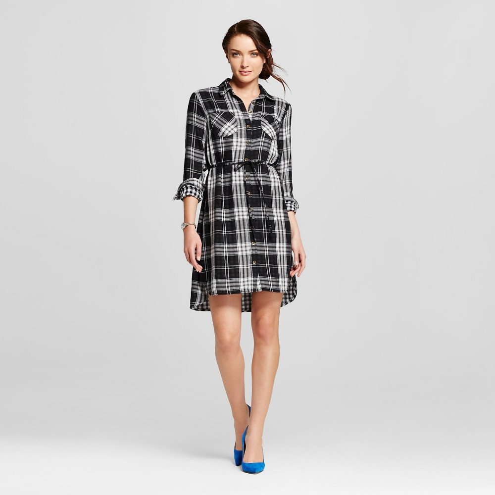 Women's Plaid Double Weave Shirt Dress Black S - Merona, Size: Small