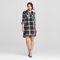 Women's Plaid Double Weave Shirt Dress Black S - Merona, Size: Small