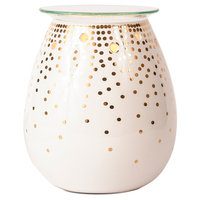 Ador Decorative Candle Warmer - Gold Dot, White