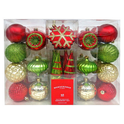 40ct Fashion Red Green Gold Shatterproof Christmas Ornament Set - Wondershop