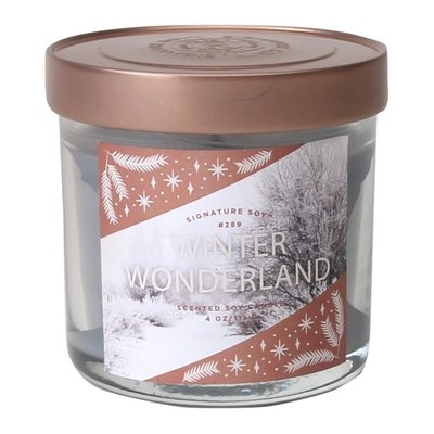Signature Soy Candle Winter Wonderland - 4 oz, Light Grey