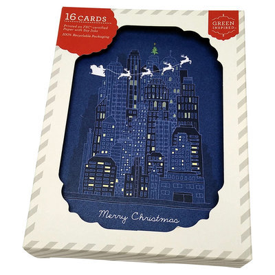 16ct Santa City - Original Holiday Boxed Cards, Multi-Colored