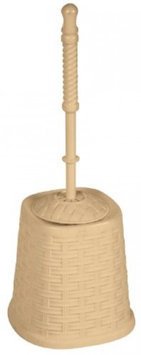 Superior Performance Rattan (Wicker Style) Toilet Bowl Brush and Holder (Beige)