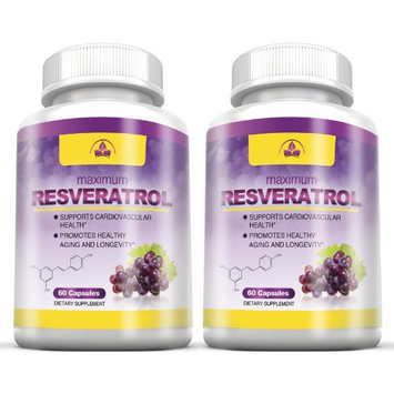 Totally Products Super Resveratrol 1200mg Maximum Strength (120 Veggie Capsules) (Pack of 2)