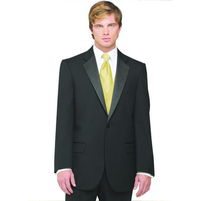 Neil Allyn 7-Piece Tuxedo with Flat Front Pants Canary Vest and Tie