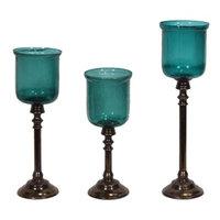 Entrada Chic Hurricane Glass Candle Holder - Set Of 3 - Benzara