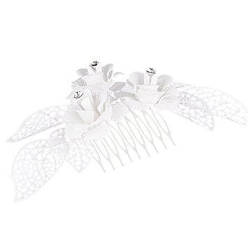 MagiDeal Diamante Alloy Crystal Flower Leaves Wedding Bridal Hair Jewelry Hair Comb Hair Clips Hair Pins White