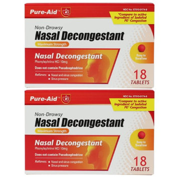 Pure-Aid Nasal Decongestant-18 tablets (2 Pack)