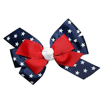 WD2U Girls Red White Blue Star Spangled Patriotic Hair Bow French Clip Barrette by Webb Direct 2U