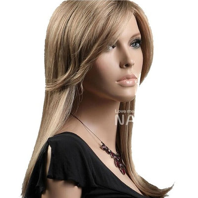 FCL Hot Fashion Synthetic Fiber Women Long Straight Wig White people Wigs with oblique bangs