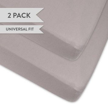 Organic Pack n Play - Portable mini crib sheet 2 Pack, 100% GOTS Certified Organic Jersey Cotton Knit Grey for Baby Girl or Baby Boy by Ely's & Co. (Playard, Grey)