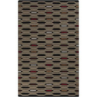 8' x 11' Honeycomb Bliss Tan and Burgundy Hand Woven Wool Area Throw Rug