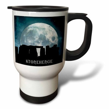 3dRose Stonehenge an ancient source of mysticism and intrigue from 2500 B C with moon, Travel Mug, 14oz, Stainless Steel
