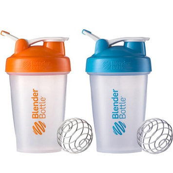 Blender Bottle 2-Pack Classic 20oz Shaker w/ Loop Top - Clear/Orng & Clear/Aqua