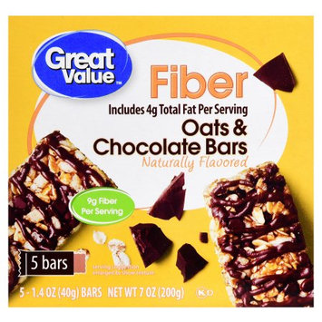 Great Value Fiber Bars Oats & Chocolate, 5 ct