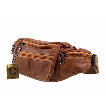 Genuine Soft Leather Waist Bag - Bumbag with Multiple Zips