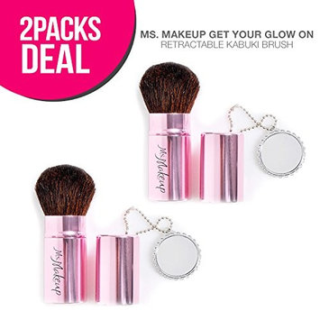 2-Pack! Ms. Makeup Get Your Glow On Retractable Kabuki Brush