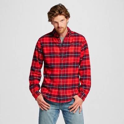 Men's Flannel Button Down Shirt Red S - Merona, Dynamic Red