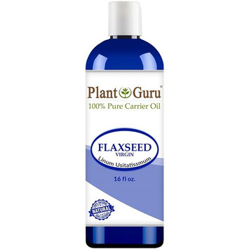 Flaxseed Oil 16 oz. Virgin, Unrefined Cold Pressed 100% Pure Natural Carrier - Skin, Body And Face. Great For Psoriasis & More!