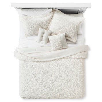 Embroidered Long Fur Coverlet Set (Queen) 5-Piece - Ivory