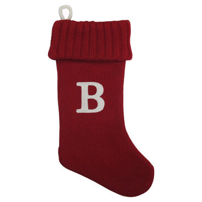 Letter B Red Knit Monogram Christmas Stocking - Wondershop, Red B