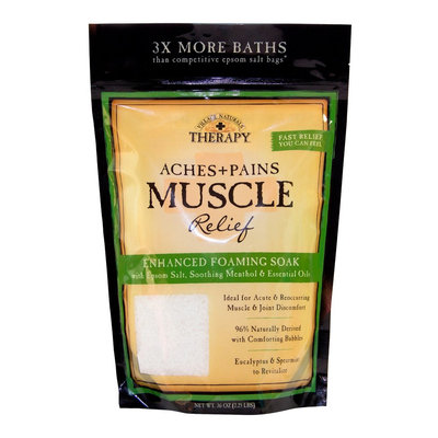 Village Naturals Therapy Aches+Pains Muscle Relief Foaming Bath Soak with Epsom Salt, 36 oz