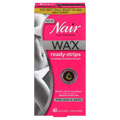 Nair Wax Ready Strips Hair Remover for Legs & Body - 40 ct